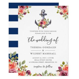 Nautical Floral Anchor Navy Blue Stripes Wedding Invitation
