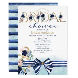 Nautical Floral Royal Blue and Gold Bridal Shower Invitations