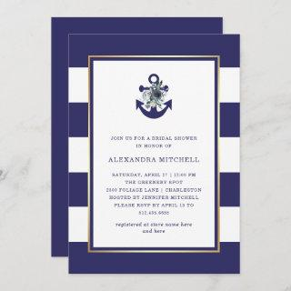 Nautical Flowers | Navy Blue Floral Bridal Shower Invitations