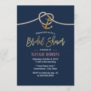 Nautical Gold Anchor Rope Navy Blue Bridal Shower Invitation