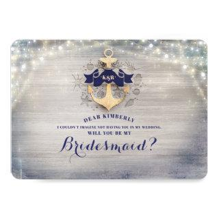 Nautical Gold Anchor Will You Be My Bridesmaid Invitation