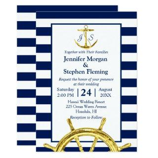 Nautical Gold and Navy Blue Stripes Wedding Invitations