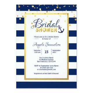 Nautical Gold Navy Blue Stripes Bridal Shower Invitations