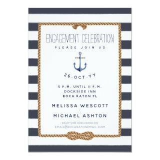 Nautical Infinity Knot Navy & White Engagement Invitation