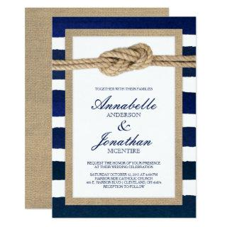 Nautical Knot Burlap & Watercolor Navy Stripes Invitations