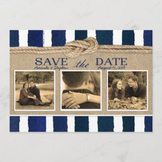 Nautical Knot Burlap Watercolor Save the Date