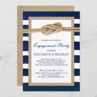 Nautical Knot Navy Stripes Bridal Engagement Party Invitations