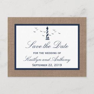 Nautical Lighthouse Burlap Wedding Save The Date Announcement Postcard
