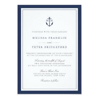 Nautical Navy Anchor Monogram Wedding Invitation