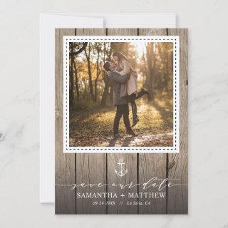 Nautical Navy Anchor Rustic Wood Photo Wedding Save The Date