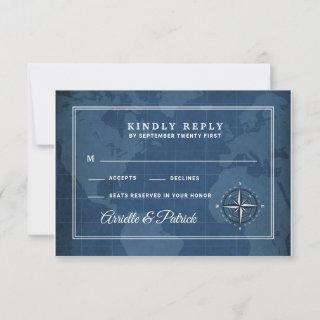 Nautical Navy and White Vintage Compass RSVP Cards