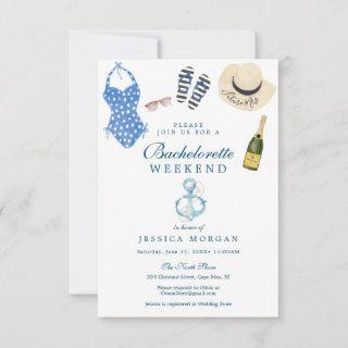 Nautical Navy Bachelorette Party Itinerary Invite
