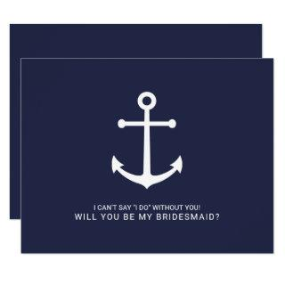 Nautical Navy Blue Anchor Bridesmaid Proposal Invitation
