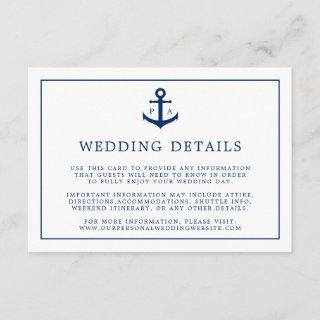 Nautical Navy Blue Anchor Monogram Wedding Details Enclosure Card