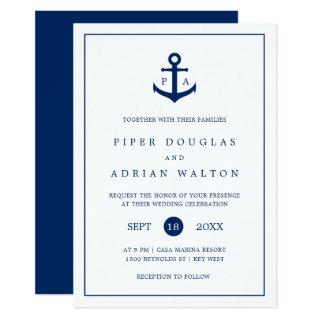 Nautical Navy Blue Anchor Monogram Wedding Invitations