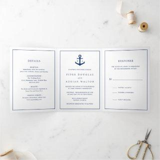 Nautical Navy Blue Anchor Monogram Wedding Tri-Fold Invitation