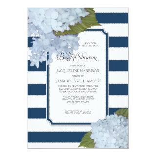 Nautical Navy Blue Hydrangea Modern Bridal Shower Invitations