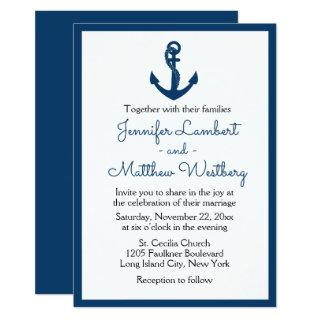 Nautical Navy Blue Wedding Anchor Sailor Beach Invitations