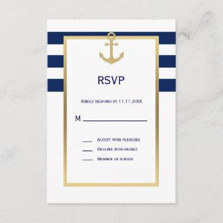 Nautical Navy Blue White Stripes RSVP Wedding