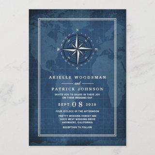 Nautical Navy Blue & White Vintage Compass Wedding Invitation