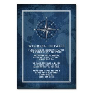 Nautical Navy Blue & White Wedding Enclosure Cards