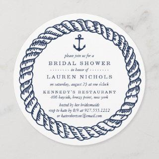 Nautical Navy Rope and Anchor Bridal Shower Invitations