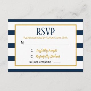 Nautical Navy Stripes and Burlap Wedding RSVP