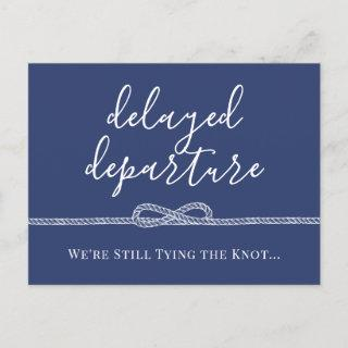 Nautical Rope Tying the Knot Postponed Wedding Announcement Postcard