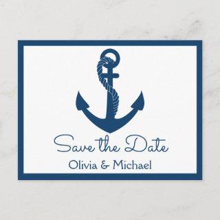 Nautical Save the Date Navy Anchor Engagement Postcard