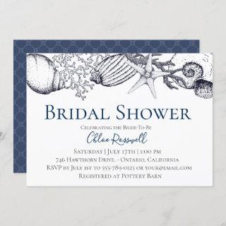 Nautical Seashell Bridal Shower Invitations