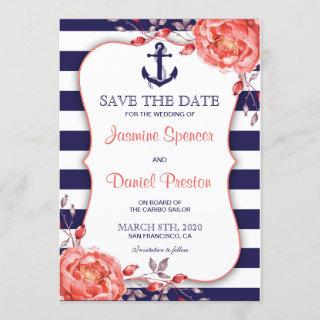 Nautical Stripe Navy Blue And Coral Save The Date