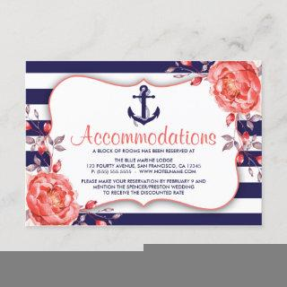 Nautical Stripe Navy & Coral Accommodation Cards