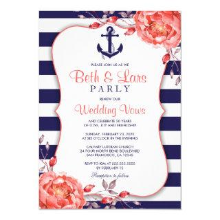 Nautical Striped Navy And Coral Vow Renewal Invitations