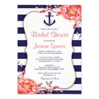 Nautical Striped Navy Blue And Coral Bridal Shower Invitation