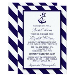 Nautical Stripes & Navy Blue Anchor Bridal Shower Invitation