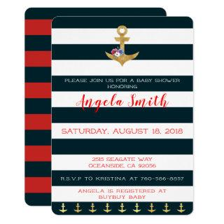 Nautical Theme Baby Shower Anchors Away Striped Invitation