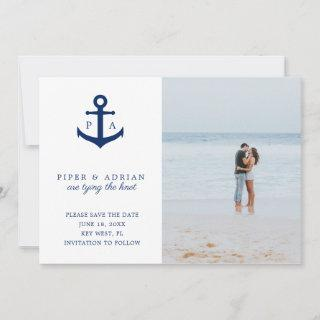 Nautical Tying the Knot Anchor Monogram Photo Save The Date