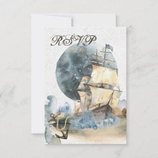 Nautical Watercolor Ship and Full Moon Wedding RSVP Card