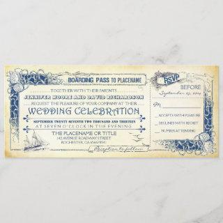 Nautical Wedding Invitation Boarding Pass Tickets