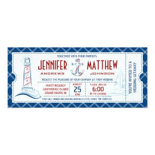 Nautical Wedding Invitation Ticket