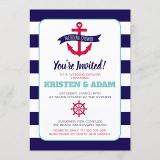 Nautical Wedding Shower Invitations  Anchors Aweigh