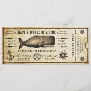 Nautical Whale Engagement Party Ticket Invitations