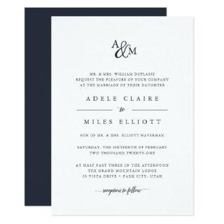 Navy | Ampersand Monogram Wedding Invitation