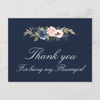 navy and blush floral flowergirl thank you card