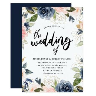 navy and blush rustic wedding Invitations