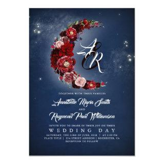 Navy and Burgundy Floral Starry Night Moon Wedding Invitations