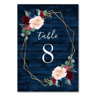 Navy and Burgundy Gold Blush Wedding Table Numbers