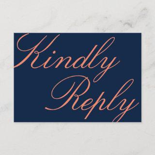 Navy and Coral Calligraphy Wedding RSVP Card