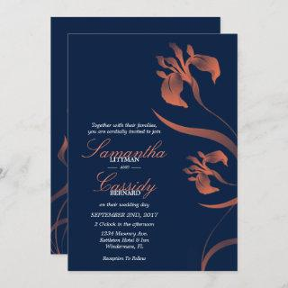 Navy and Coral Iris Floral Wedding Invitation