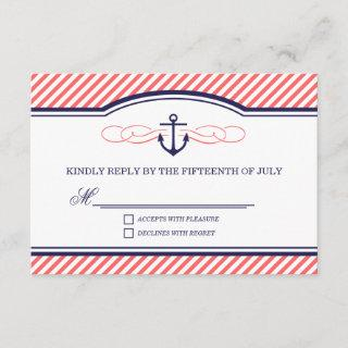 Navy and Coral Nautical Anchor Wedding RSVP Card